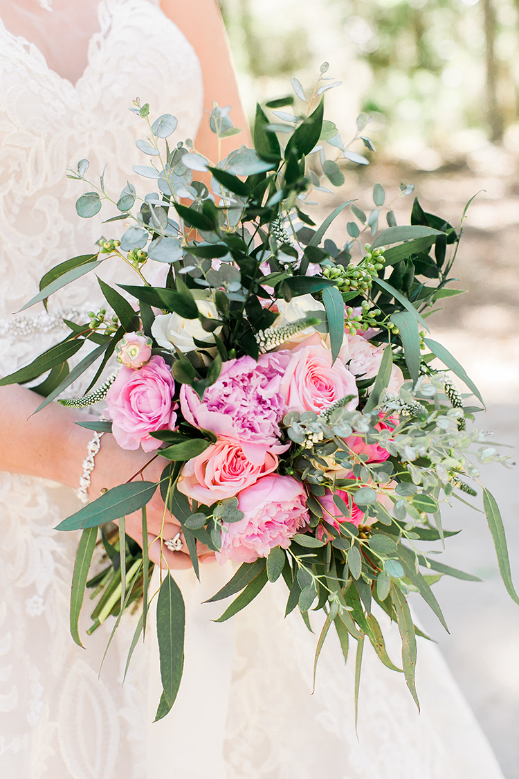 Spring bouquet of pink peonies and greenery at Savannah GA wedding  //  A Lowcountry Wedding Magazine