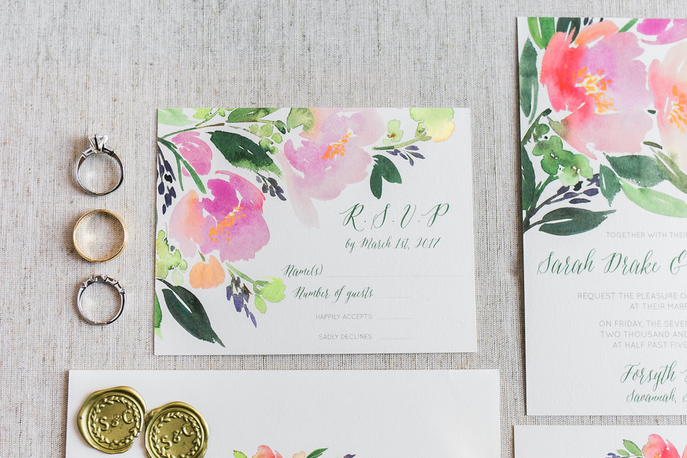 Floral wedding invitations by Minted in Savannah GA  //  A Lowcountry Wedding Magazine