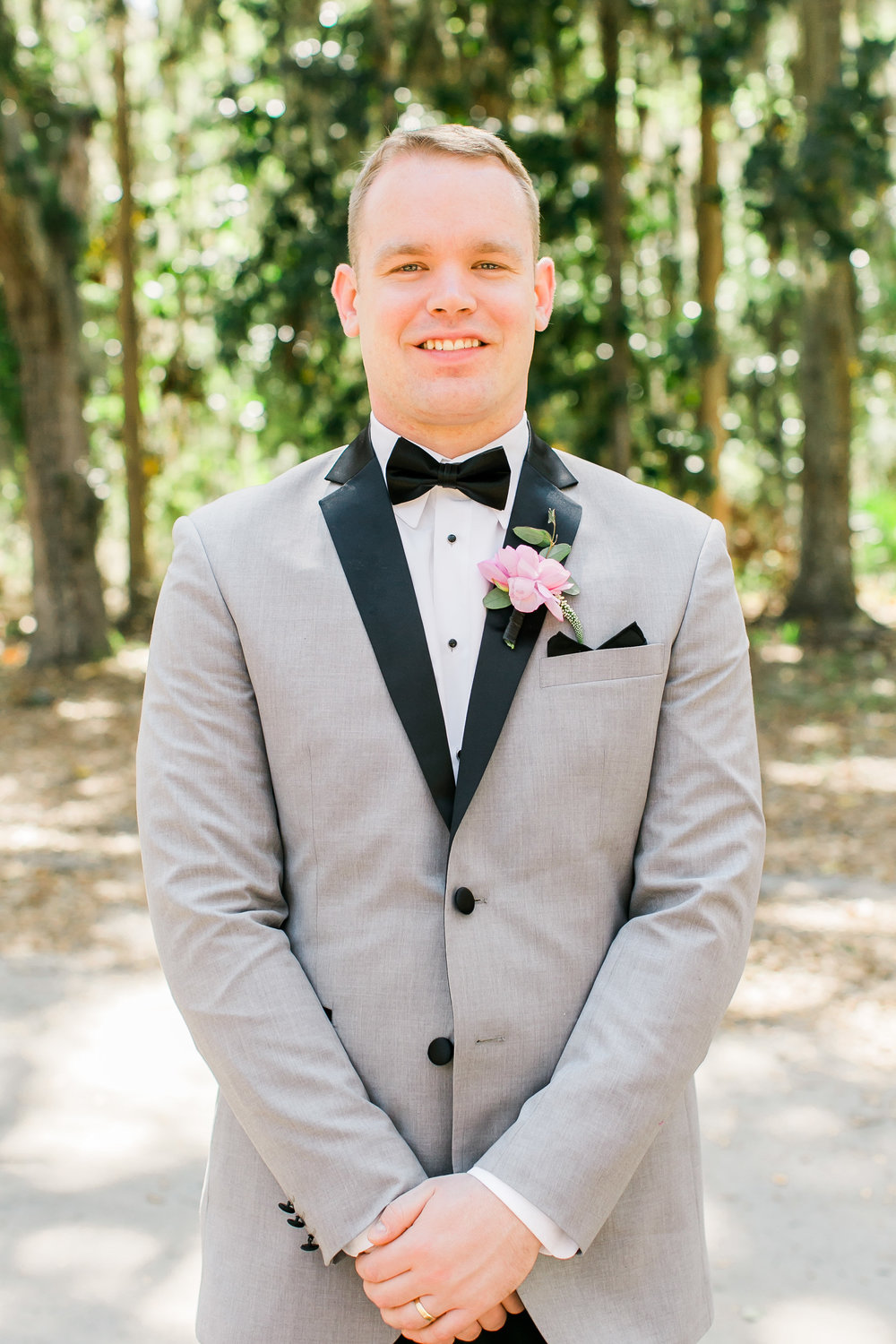 Savannah GA groom in grey tuxedo for destination wedding