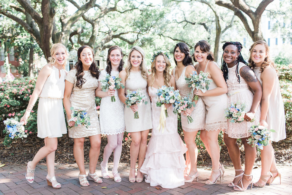 Bridesmaids wearing neutral cocktail dresses at Savannah GA wedding  //  A Lowcountry Wedding Magazine