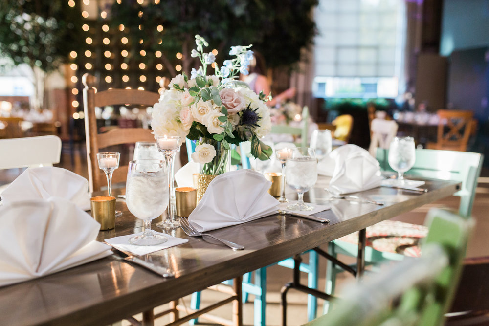 Romantic wedding reception decor at Soho South Cafe  //  A Lowcountry Wedding Magazine