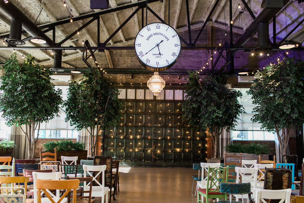 Mismatched wedding ceremony chairs at Soho South Cafe  //  A Lowcountry Wedding Magazine