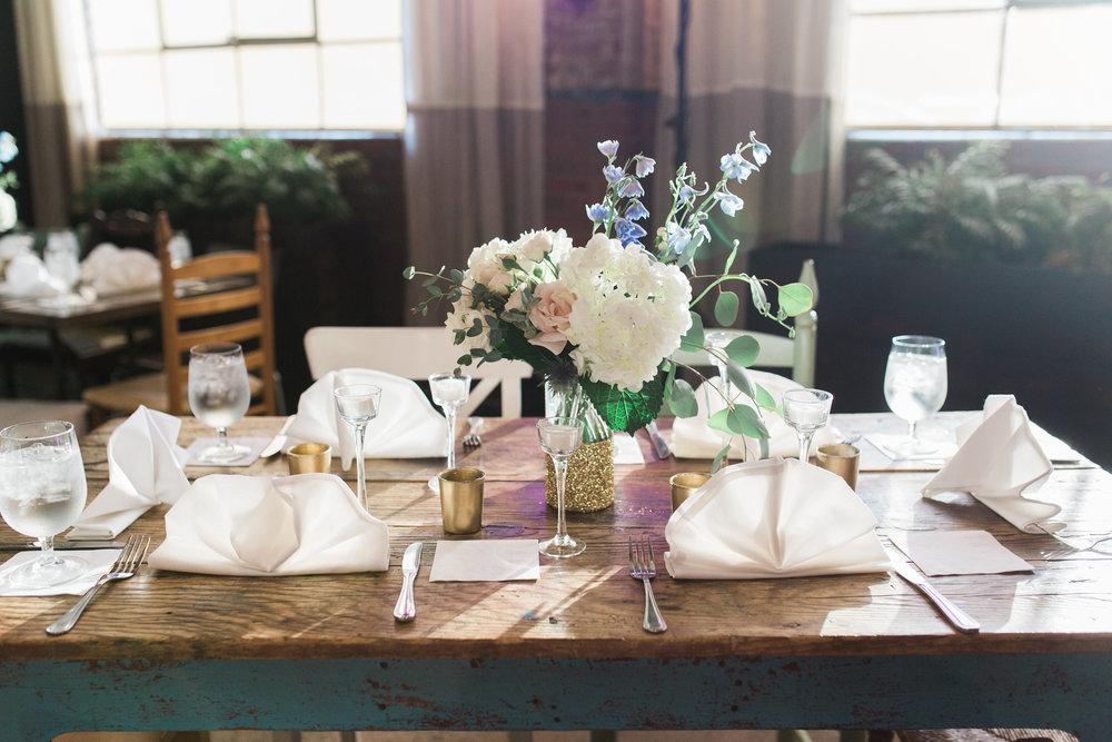 Savannah wedding reception decor by Urban Poppy at Soho South Cafe