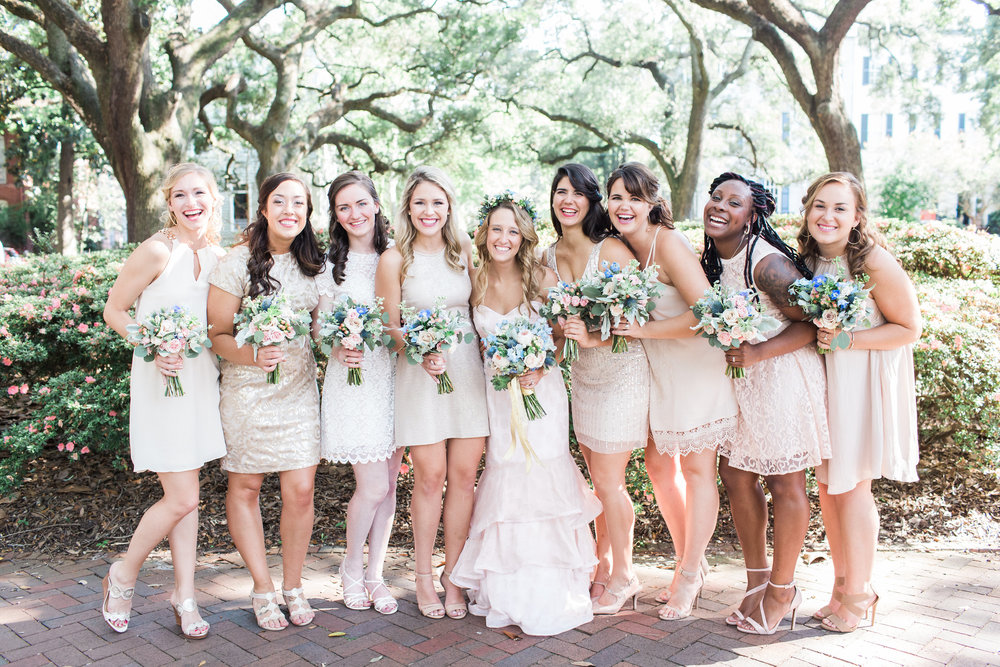 Bridesmaids in neutral cocktail dresses for Savannah GA wedding  //  A Lowcountry Wedding Magazine