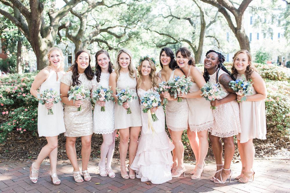 Bridesmaids in neutral cocktail dresses for Savannah GA wedding  //  A Lowcountry Wedding Magazine