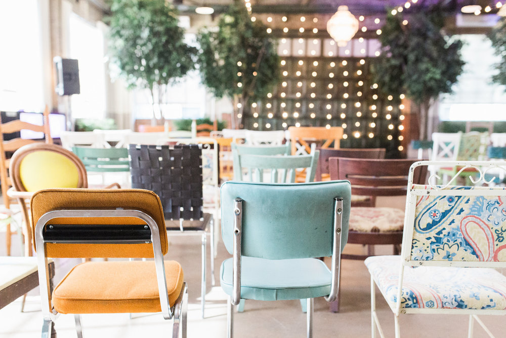 Mismatched wedding ceremony seating at Soho South Cafe  //  A Lowcountry Wedding Magazine