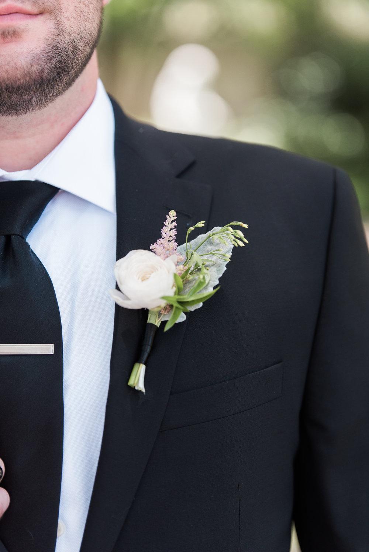 Charleston groom's hite ranunculus boutonniere by Branch Design Studio at Thomas Bennett House wedding