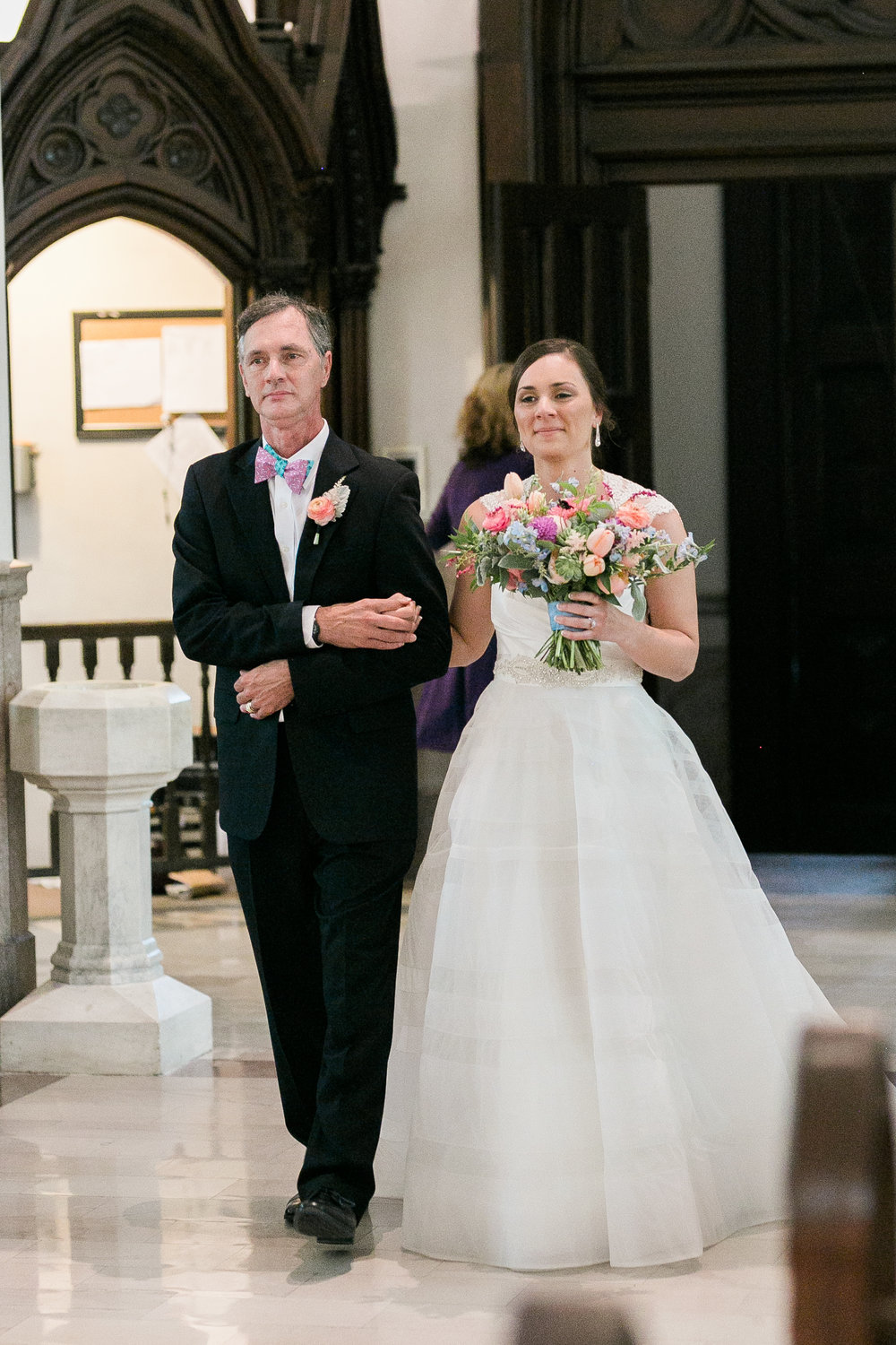 Father of the bride walking daughter down the aisle at Cathedral of St. John the Baptist in Charleston, SC  //  A Lowcountry Wedding Magazine & Blog