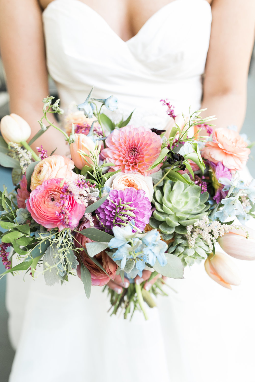 Colorful bouquet by Branch Design Studio for a Charleston, SC wedding Traditional wedding ceremony at Cathedral of St. John the Baptist in Charleston, SC  //  A Lowcountry Wedding Magazine & Blog