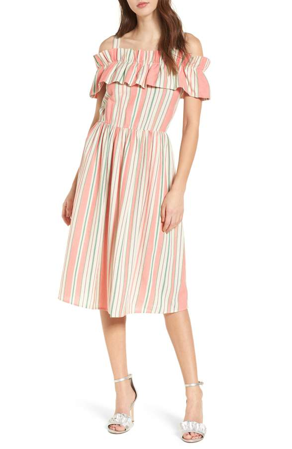 Stripe Ruffle Off the Shoulder Dress