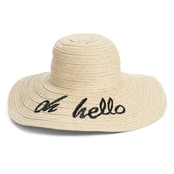 Women's Nordstrom Wordplay Floppy Straw Sun Hat - Black