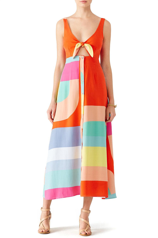 Mara Hoffman Colorblock Tie Midi Dress