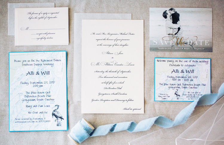 Will allis debordieu club wedding a lowcountry wedding blog pale blue invitations for a wedding at debordieu club a lowcountry wedding magazine stopboris Image collections