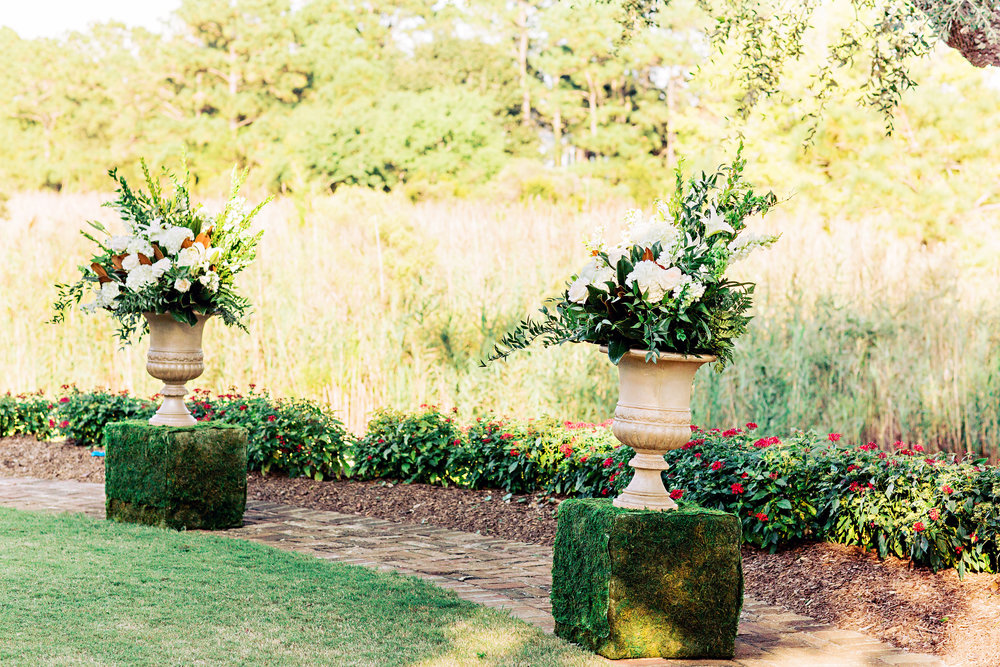 Floral altar centerpieces for outdoor wedding ceremony at DeBordieu Club  //  A Lowcountry Wedding Magazine & Blog