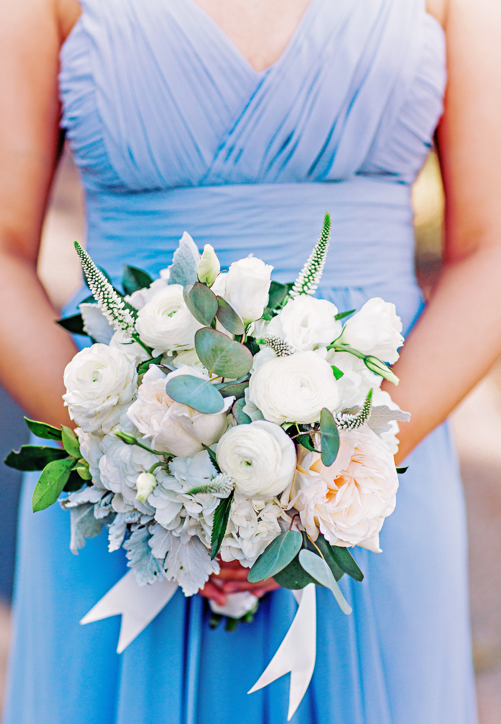 All white bouquet with ranunculus and veronica by Carolina Charm Florist for Georgetown SC wedding  //  A Lowcountry Wedding Magazine & Blog