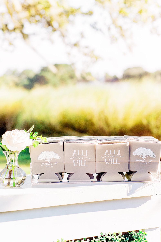 Custom wedding koozies at a DeBordieu Club wedding  //  A Lowcountry Wedding Magazine & Blog