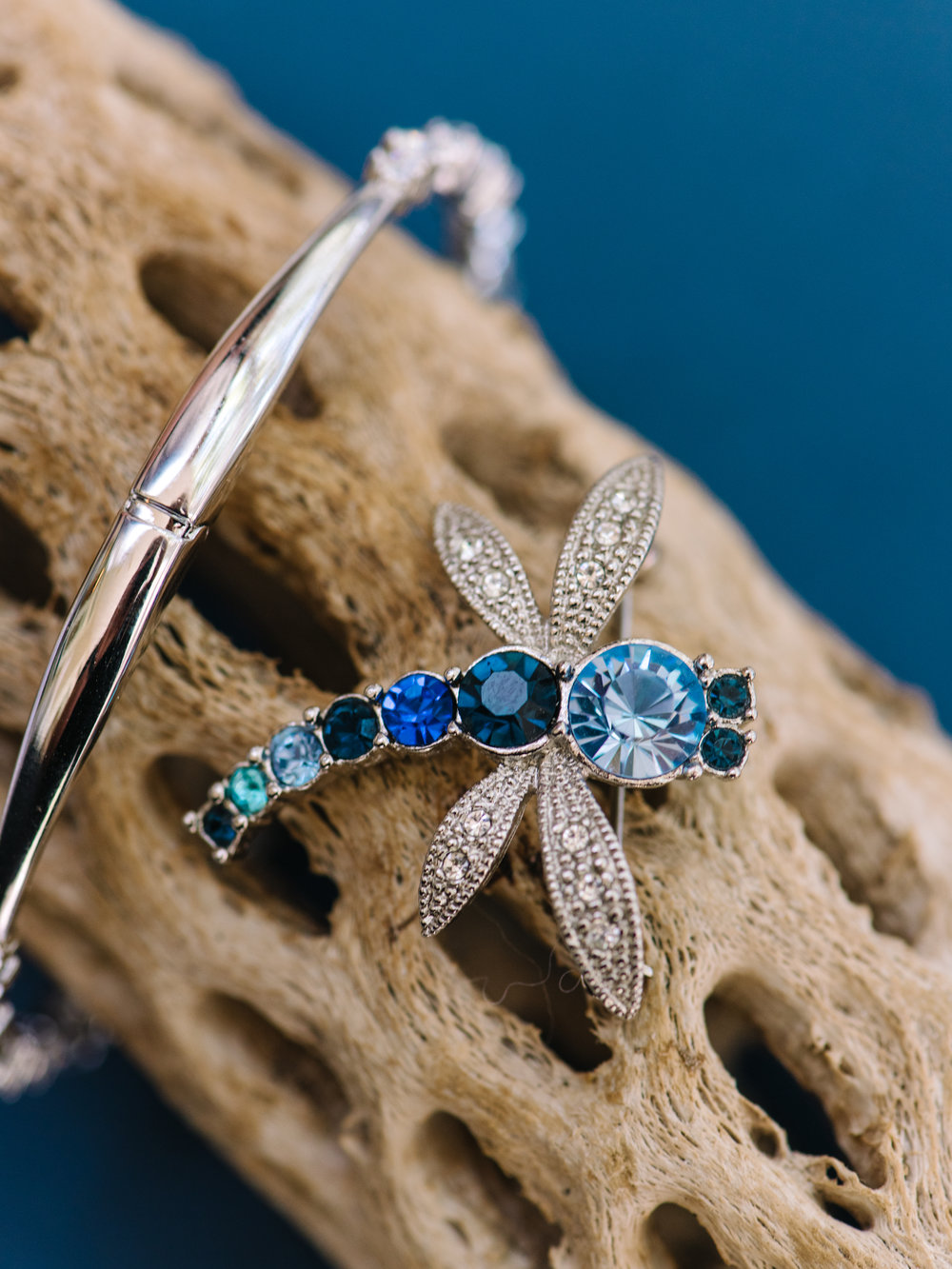 Blue dragonfly pin at Murrells Inlet, SC wedding