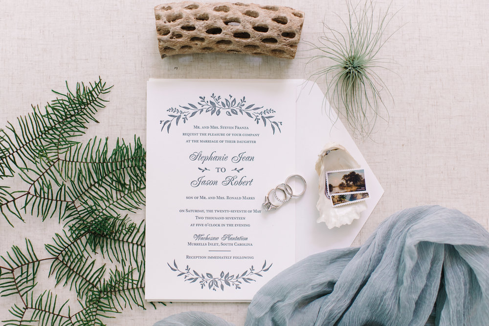 Coastal invitations for a wedding in Murrells Inlet, SC at Wachesaw Plantation  //  A Lowcountry Wedding Magazine