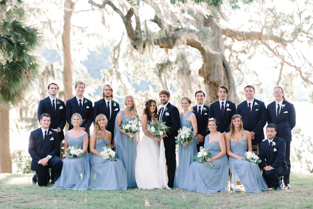 Bridesmaids wearing long blue Jenny Yoo dresses for a wedding at Wachesaw Plantation in Murrells Inlet, SC  //  A Lowcountry Wedding Magazine & Blog