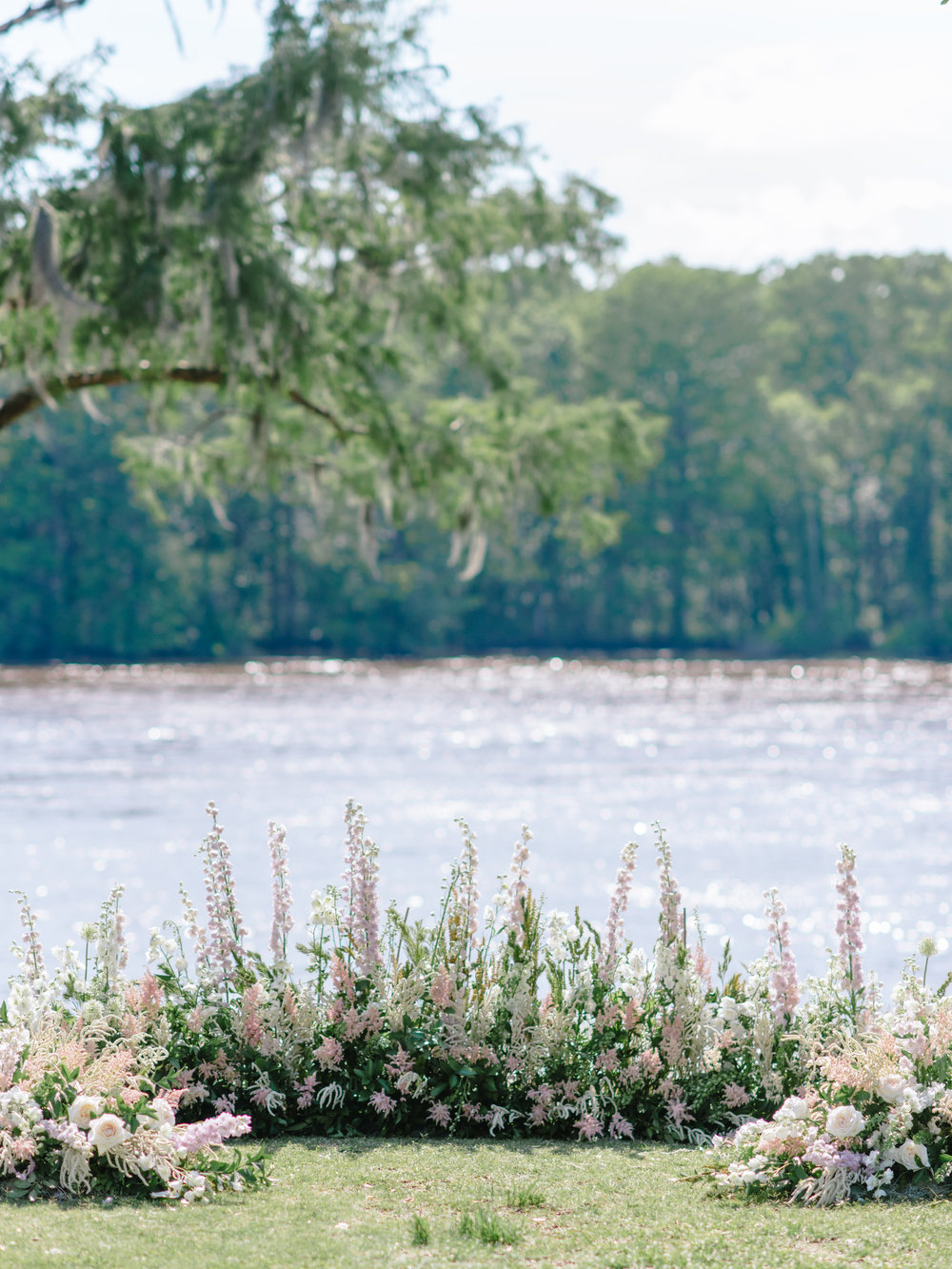 Floral horseshoe at Wachesaw Plantation wedding ceremony on the Waccamaw River  //  A Lowcountry Wedding Magazine & Blog