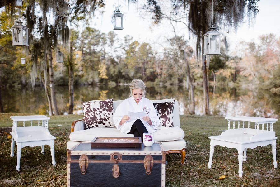 Vintage lounge furniture setup at Red Gate Farms wedding in Savannah, GA  //  A Lowcountry Wedding Magazine