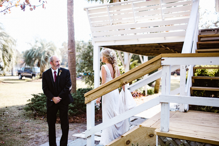 Father daughter first look at wedding in Savannah, GA photographed by SDPhotographs  //  A Lowcountry Wedding Magazine