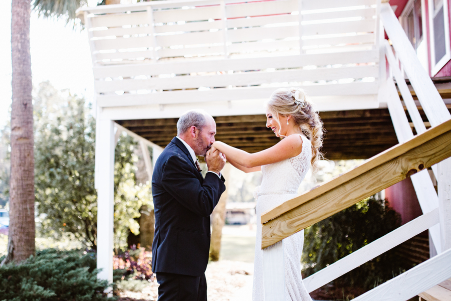 Father daughter first look at Red Gate Farms in Savannah, GA  //  A Lowcountry Wedding Magazine