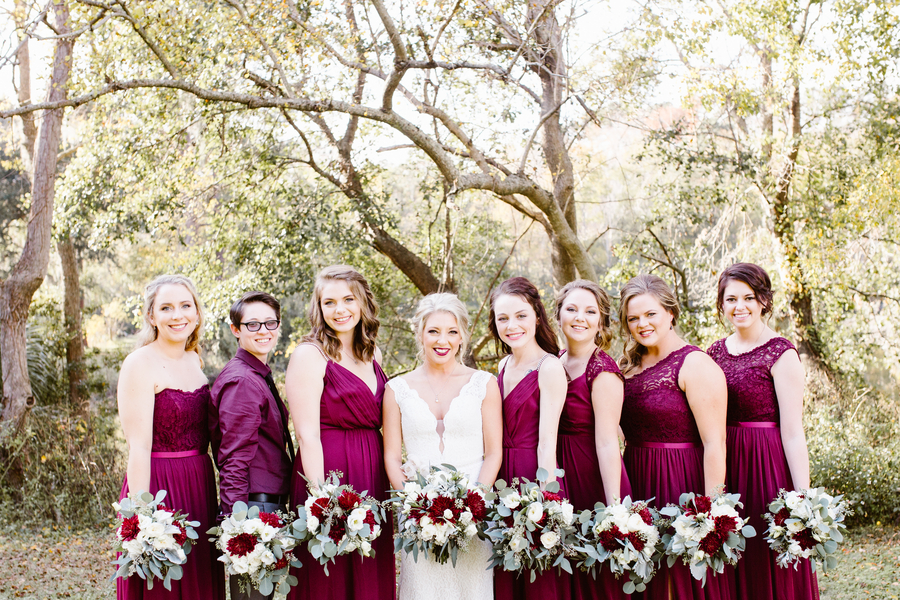 Bridesmaids in cranberry lace dresses for wedding at Red Gate Farms  //  A Lowcountry Wedding Magazine