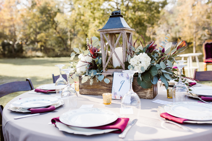 Rustic table decor for Savannah GA wedding at Red Gate Farms  //  A Lowcountry Wedding Magazine