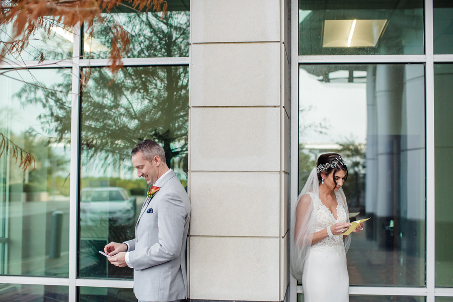 Bride and groom first look at Harborside East wedding in Charleston, SC  //  A Lowcountry Wedding Magazine & Blog