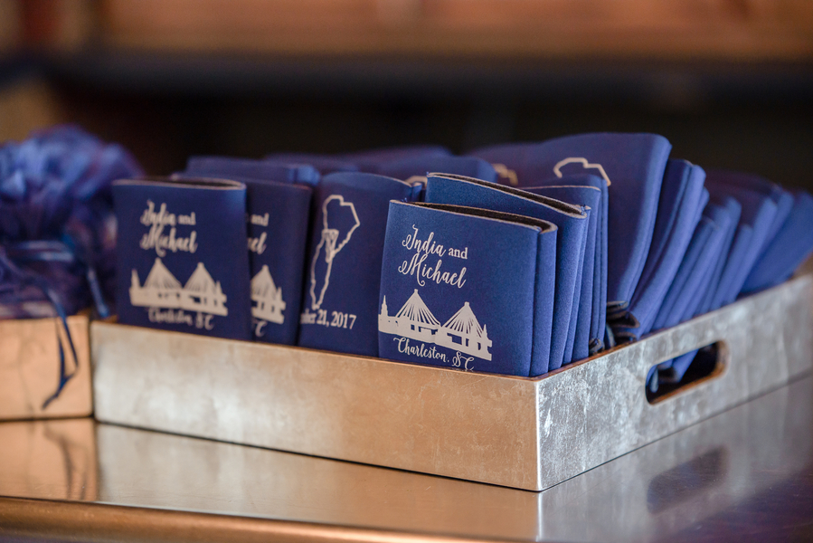 Navy koozies at Charleston SC wedding at Harborisde East  //  A Lowcountry Wedding Magazine & Blog