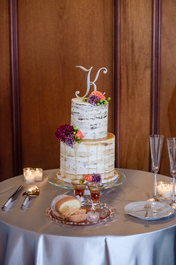 Two-tiered rustic cake at Charleston SC wedding at Harborside East   //  A Lowcountry Wedding Magazine & Blog