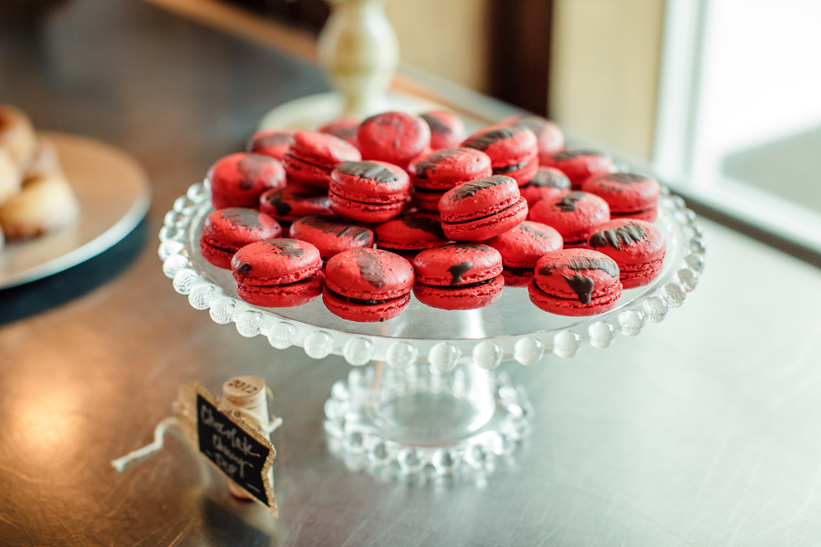 Dessert bar at Harborside East wedding reception with red macaroons   //  A Lowcountry Wedding Magazine & Blog