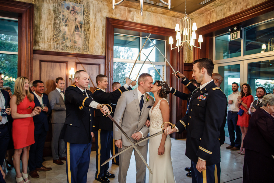 Military sword bearers with bride & groom at Harborside East   //  A Lowcountry Wedding Magazine & Blog