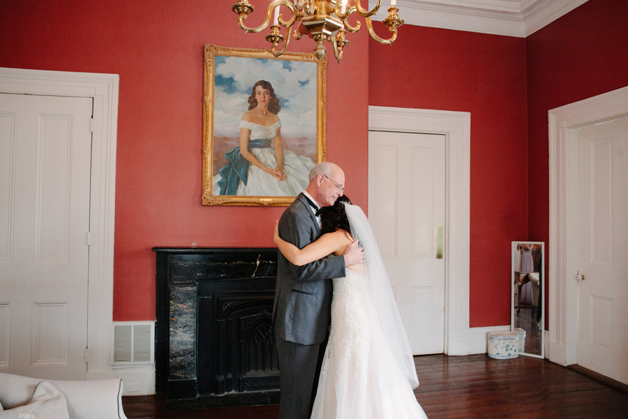 Father daughter first look   // Charleston wedding photos by Riverland Studios  //  A Lowcountry Wedding Magazine