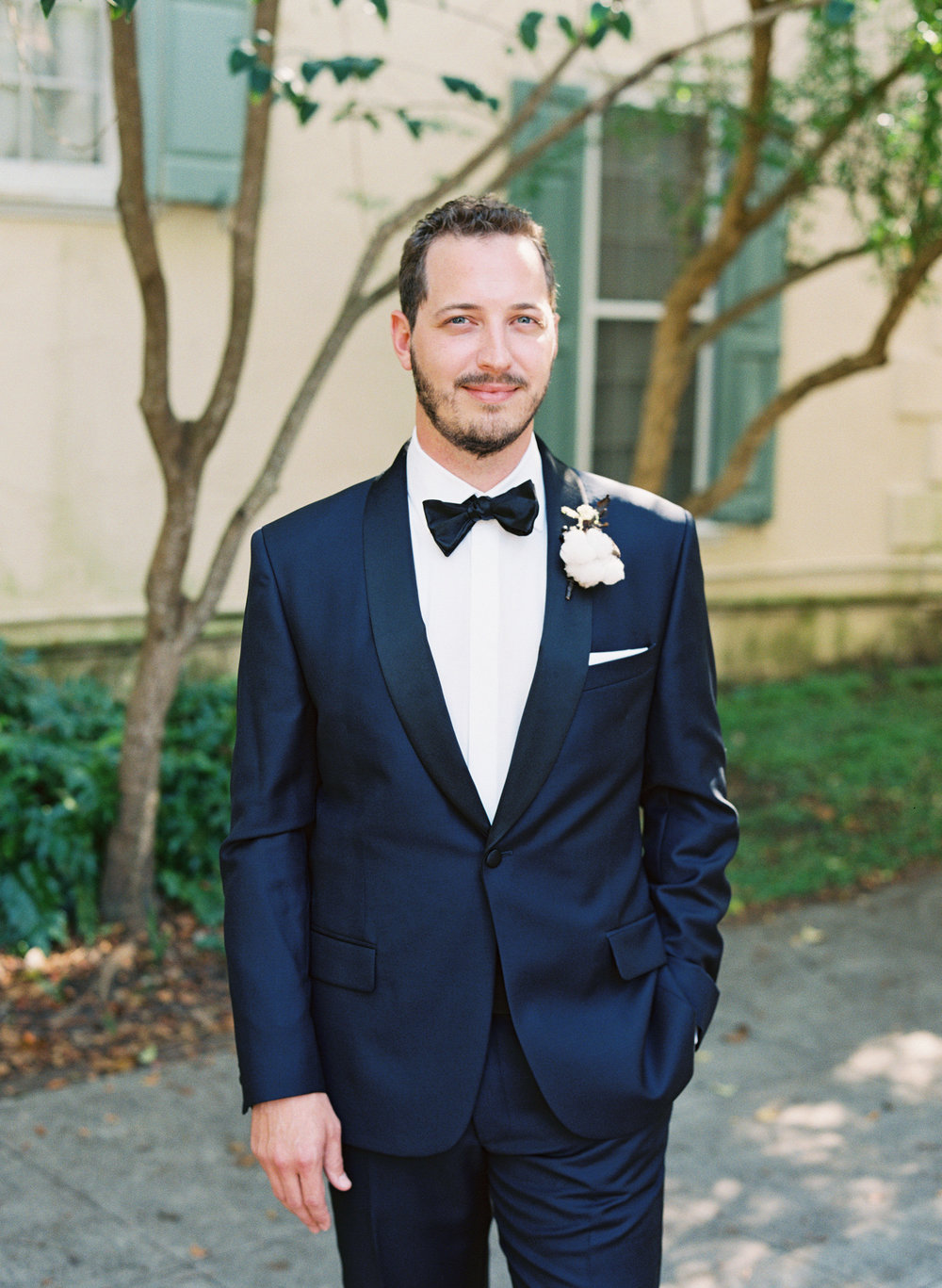 Charleston groom in custom navy Joseph Abboud tuxedo  //  Wedding photography by Landon Jacob  //  A Lowcountry Wedding Magazine