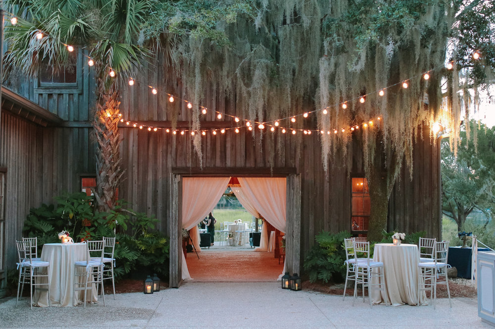 Boone Hall Plantation wedding reception at The Cotton Dock by Landon Jacob