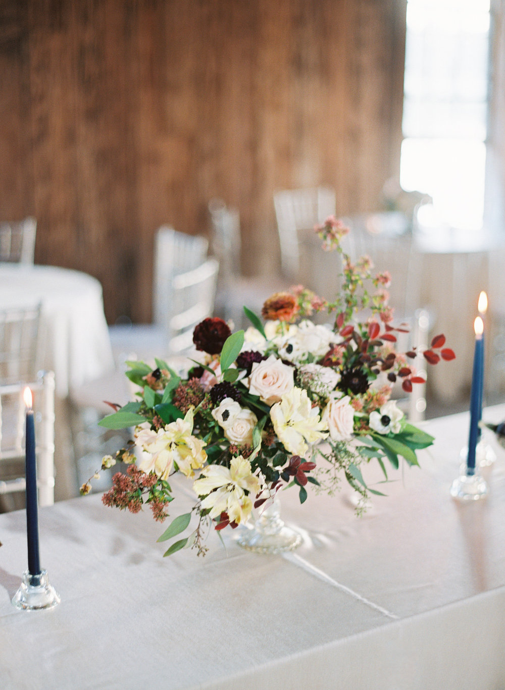 Floral centerpieces at Boone Hall Plantation  //  Charleston Wedding photography by Landon Jacob