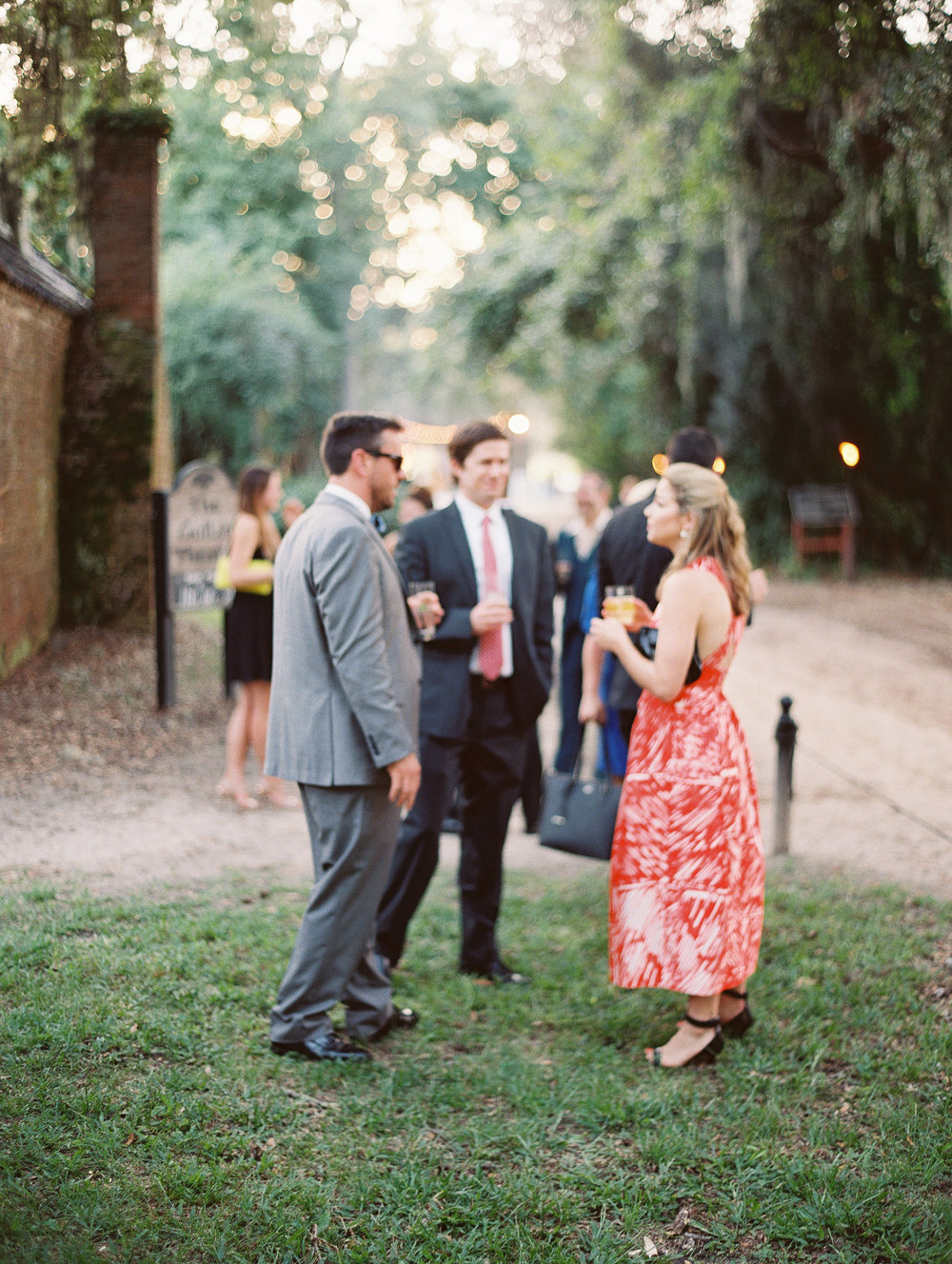 Cocktail hour at Boone Hall Plantation wedding  //  photographed by Landon Jacob