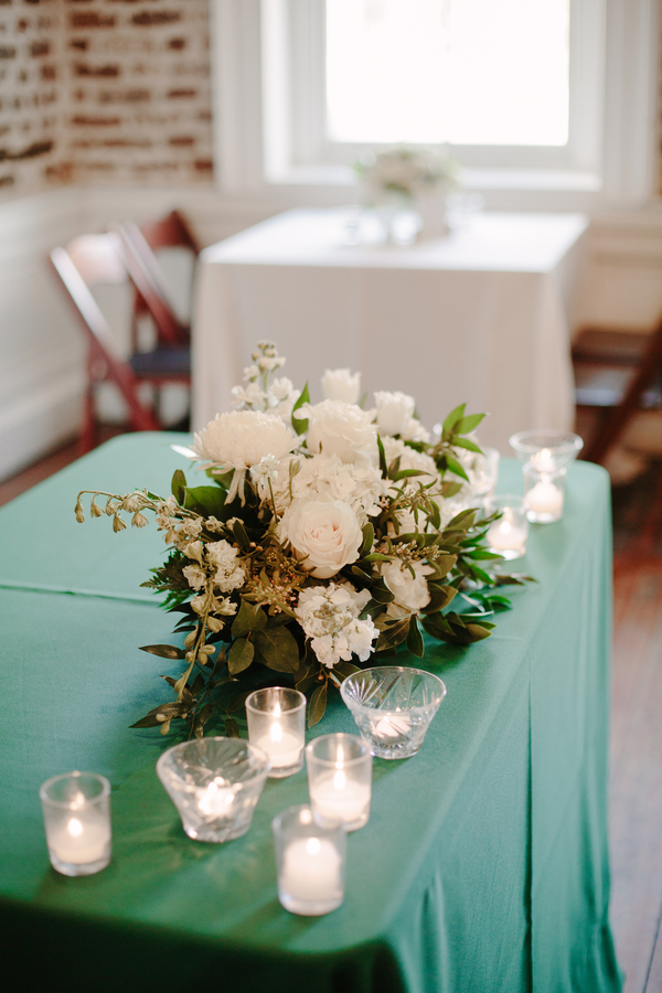 Green and white reception decor at Upstairs at Midtown wedding in Charleston, SC  //  A Lowcountry Wedding Magazine