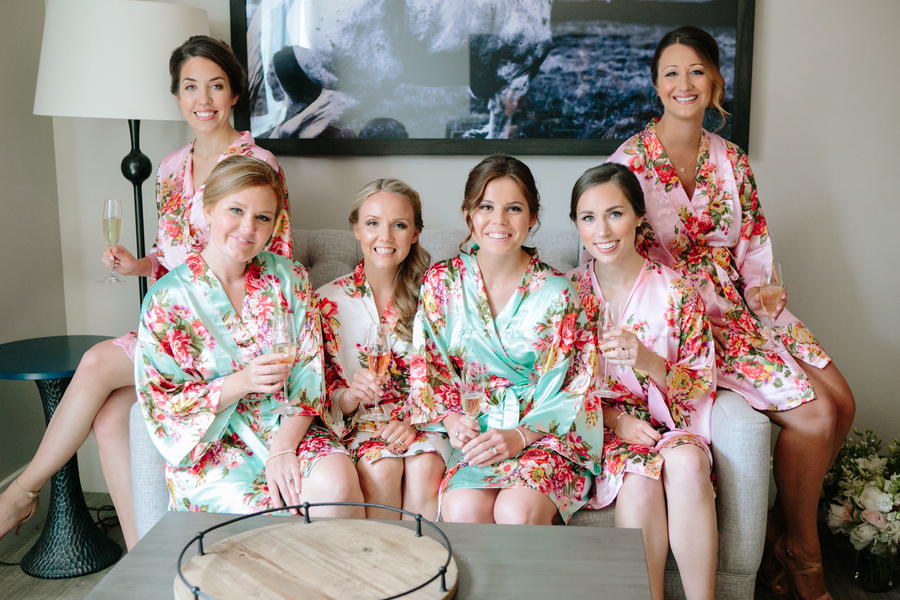 Bridesmaids in floral robes for Charleston SC wedding  //  A Lowcountry Wedding Magazine