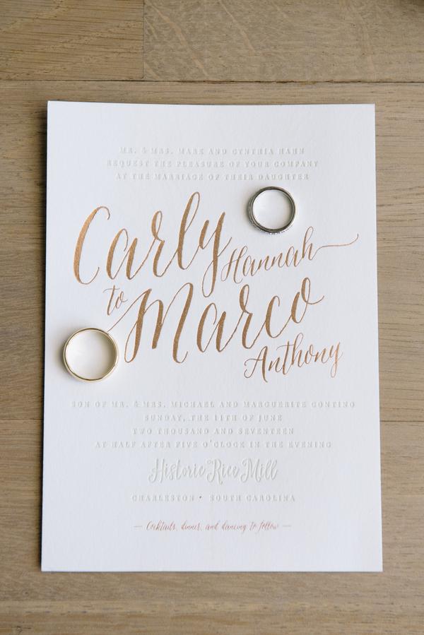 Modern gold wedding invitations   //  A Lowcountry Wedding Magazine
