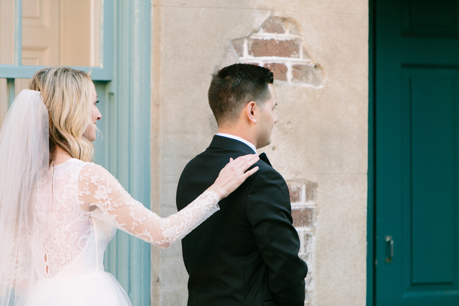 First look in downtown Charleston SC by Riverland Studios  //  A Lowcountry Wedding Magazine