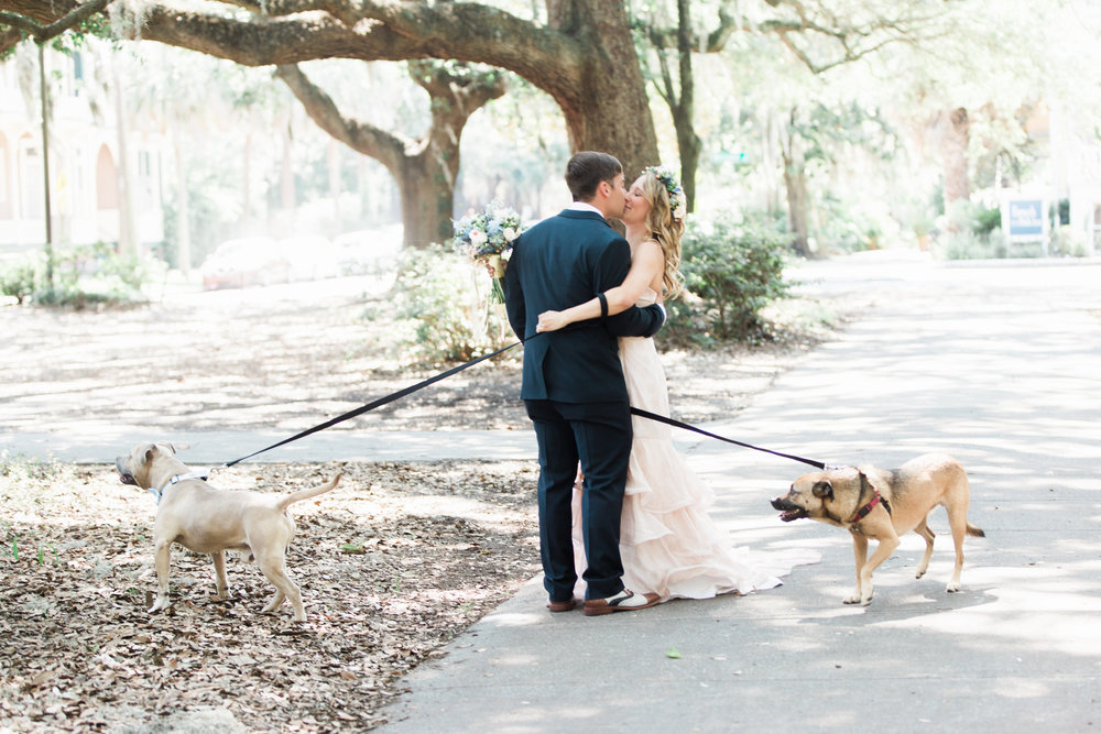 Savannah Bride & Groom's first look in Forsyth Park with their dogs
