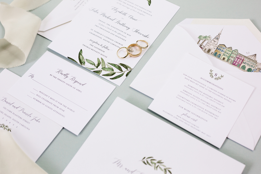 Charleston themed wedding invitations suite by Britt Bates  //  A Lowcountry Wedding Magazine