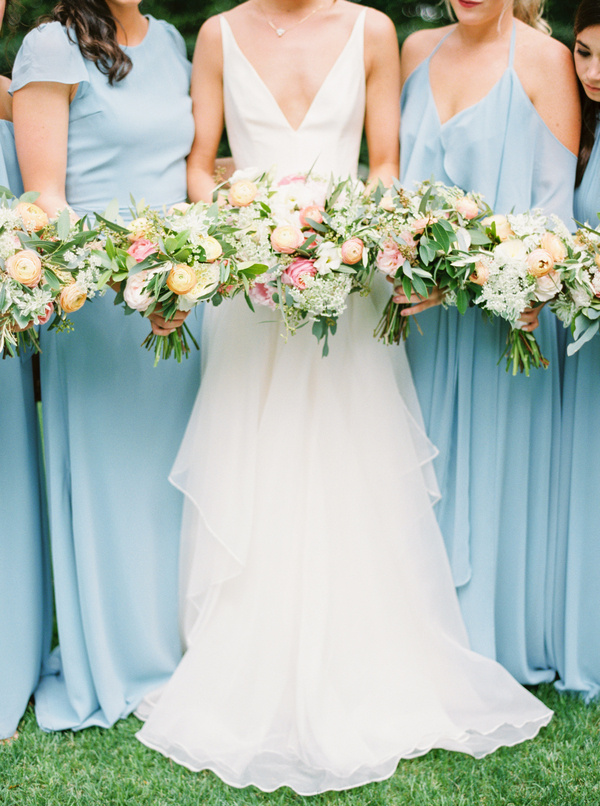Pale blue bridesmaids dresses for Thomas Bennett House wedding in Charleston, SC