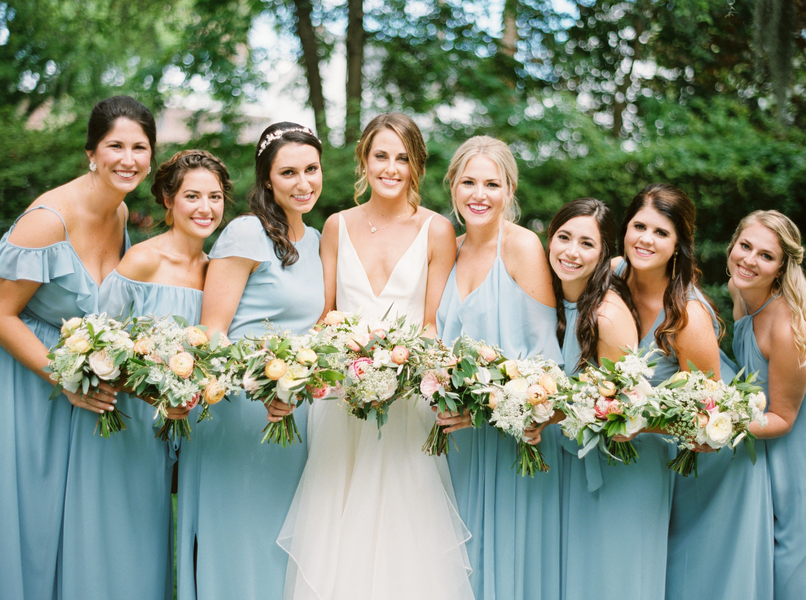 Charleston bride in a Leanne Marshall gown with bridesmaids in light blue at The Thomas Bennett House  //  Wedding photography by JoPhoto  //  A Lowcountry Wedding Magazine