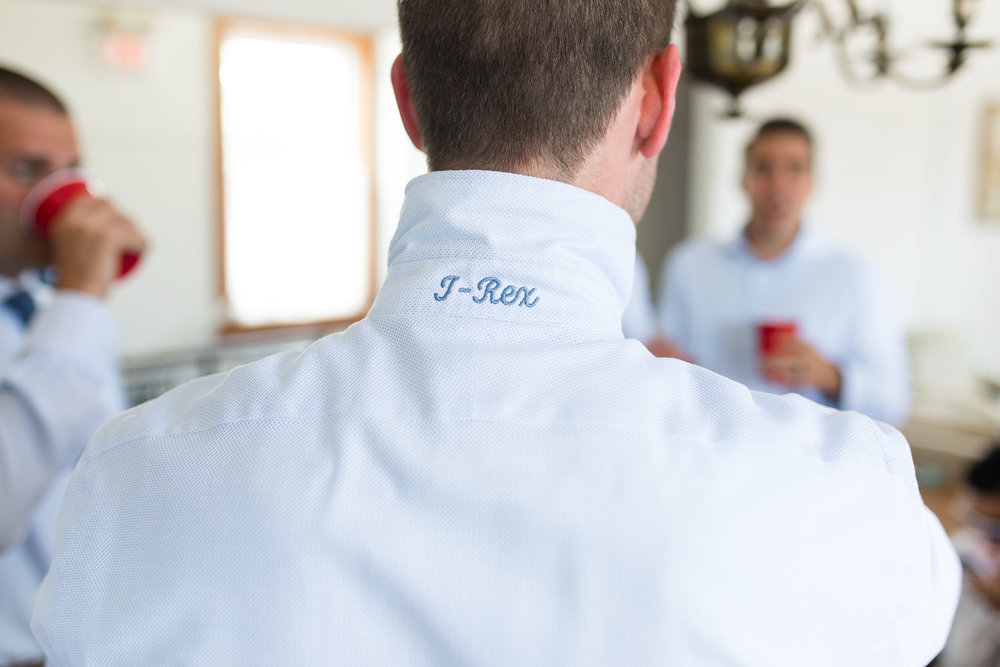 Beaufort SC Groom's monogrammed shirt  //  Hilton Head wedding photos by Garter + Whiskey