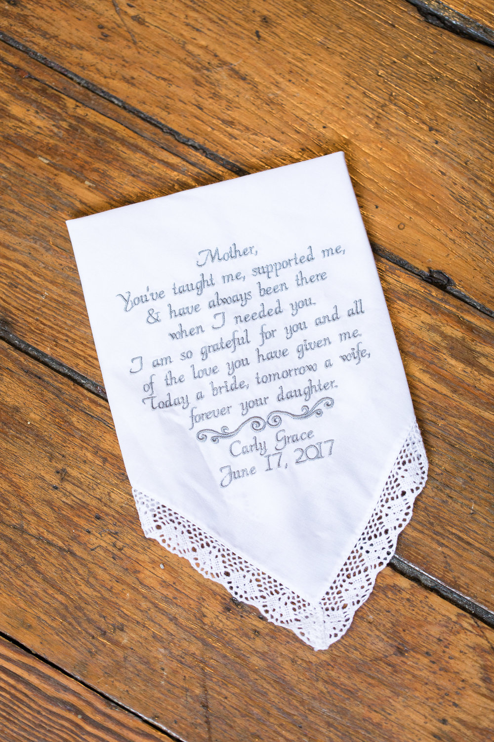 Monogrammed handkerchief for wedding in Beaufort, SC  //  A Lowcountry Wedding Magazine