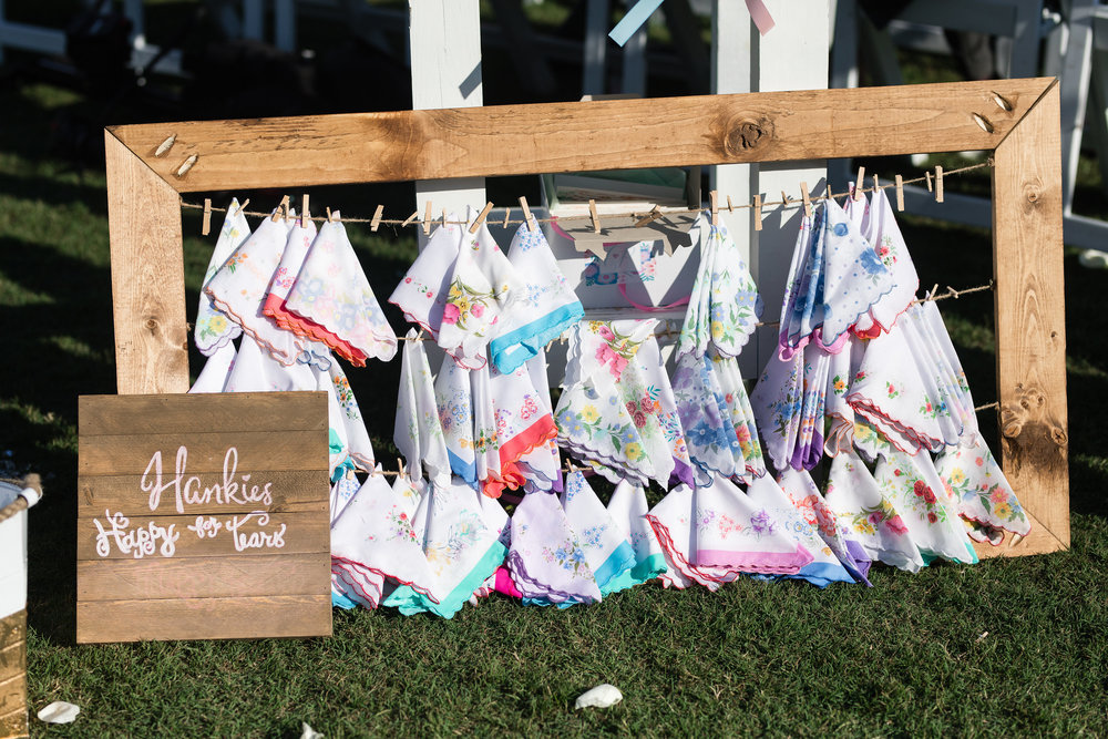 Hankies at Beaufort SC wedding ceremony for Happy tears  //  A Lowcountry Wedding Magazine